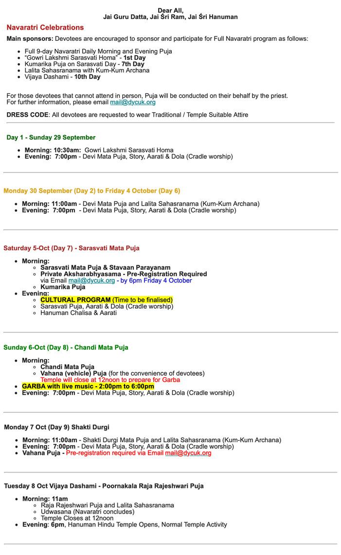 Navaratri Schedule19